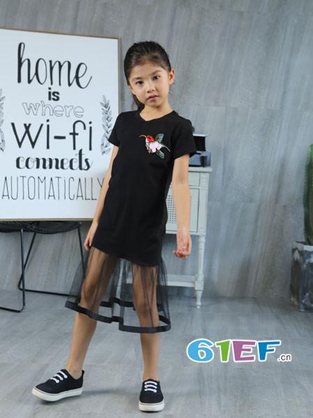 Fun World凡兜童装品牌2018春夏印花网纱拼接短袖连衣裙