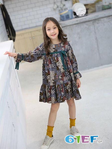 木子MUUZI童装品牌长袖印花连衣裙