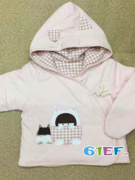 婴熊贝初童装品牌舒适保暖连帽婴儿棉衣