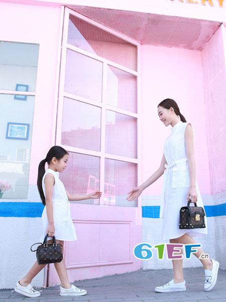 天使舞台情侣亲子2018春夏时尚优雅无袖女亲子连衣裙