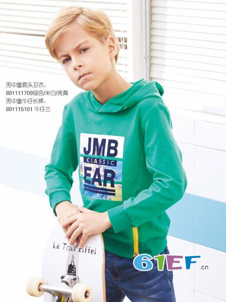 杰米熊童装品牌2018春休闲字母连帽绿色男卫衣