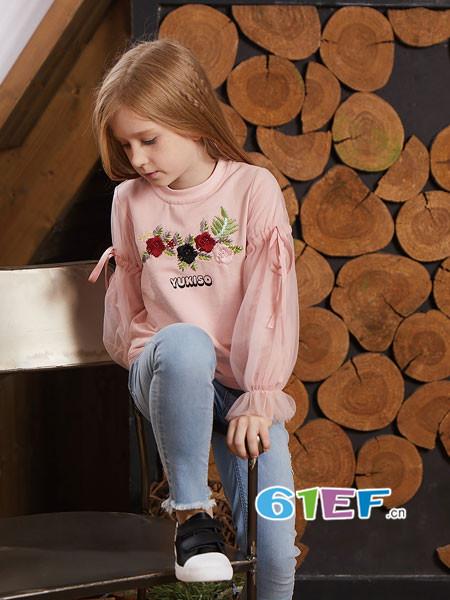 YukiSo童装品牌2018春欧式优雅绣花灯笼袖女卫衣