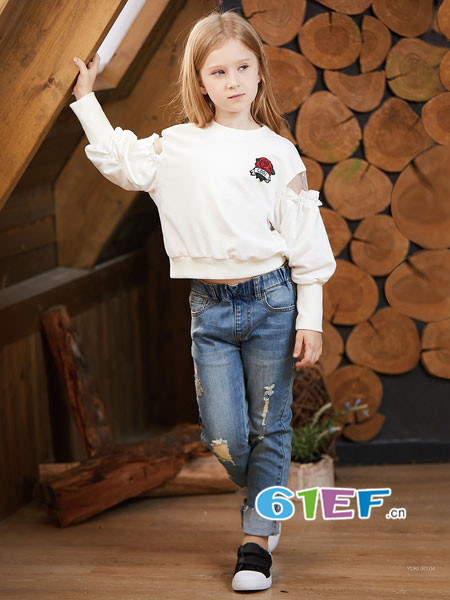 YukiSo童装品牌2018春欧式个性拼接袖女卫衣