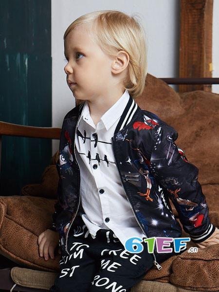 YukiSo童装品牌2018春时尚休闲个性男棒球服外套