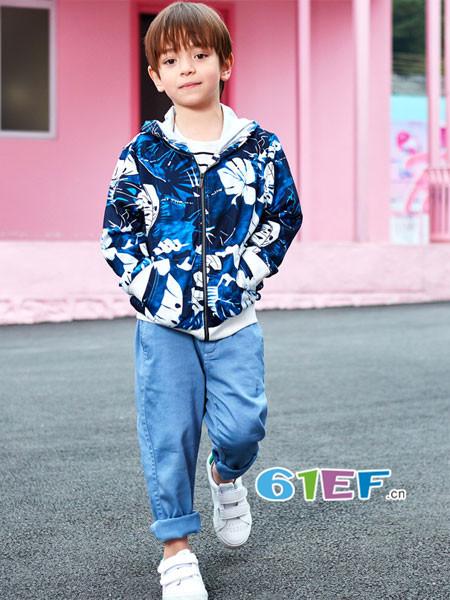 七匹狼童装品牌2018春男童夹克薄中大童上衣外套