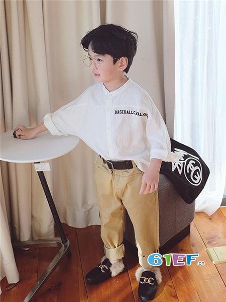 伟尼熊童装品牌2018春时尚休闲宽松长袖男衬衣