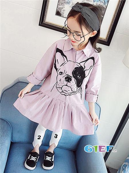 伟尼熊童装品牌2018春时尚气质印花长袖女衬衣裙