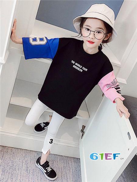 伟尼熊童装品牌2018春休闲个性拼接色女卫衣