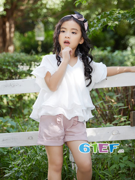 叽叽哇哇童装品牌2018春夏时尚优雅甜美波浪边女雪纺上衣