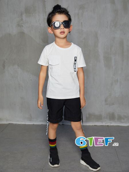 叽叽哇哇童装品牌2018春夏休闲简约短袖男T恤