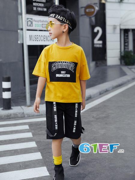 叽叽哇哇童装品牌2018春夏休闲个性字母短袖男T恤