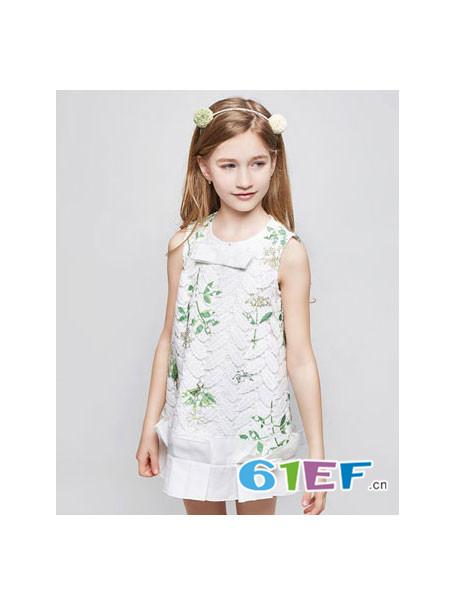 Flordeer弗萝町童装品牌2018春夏无袖绣花裙