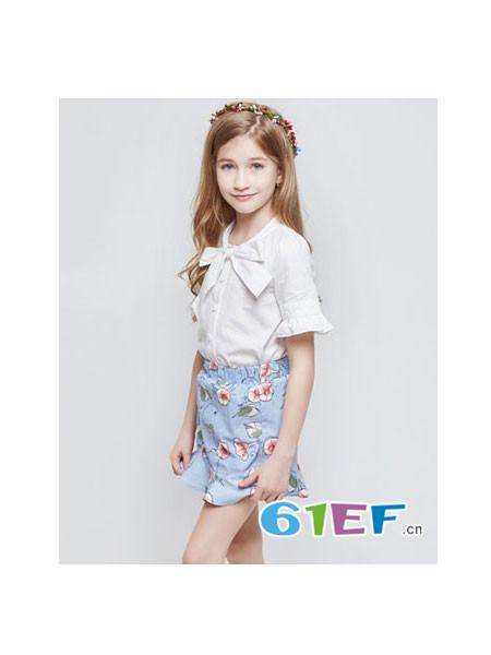 Flordeer弗萝町童装品牌2018春夏显瘦百搭蝴蝶结T��