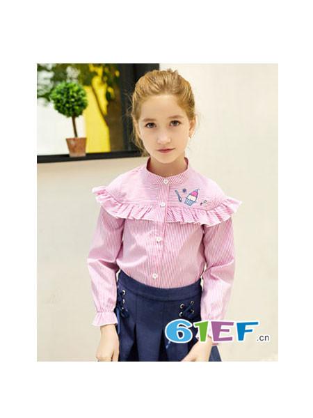 Flordeer弗萝町童装品牌2018春夏可爱粉色褶皱衫