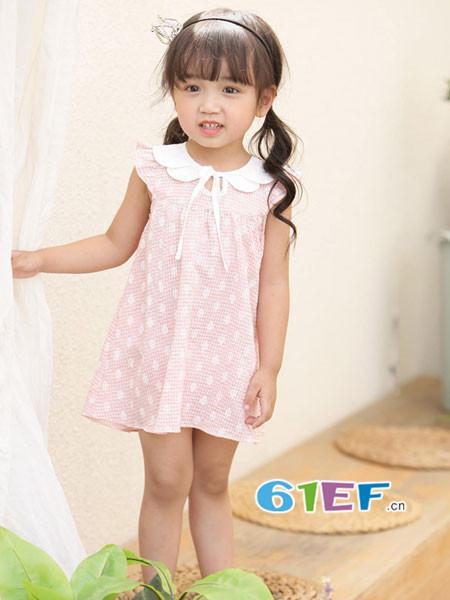 �岸垢笸�装品牌2018春夏韩式娃娃领无袖连衣裙