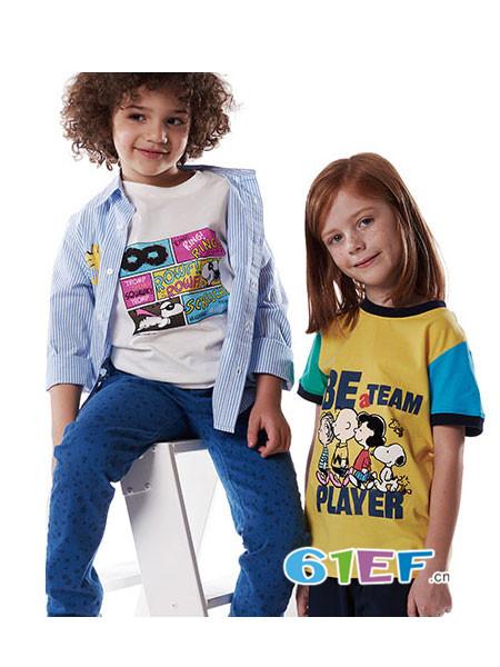 Fun House童装品牌时尚休闲拼接字母卡通男女短袖T恤