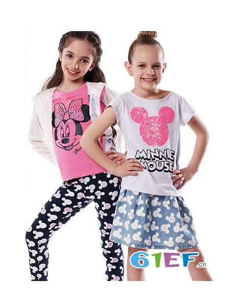 Fun House童装品牌时尚休闲宽松卡通印花百搭短袖女T恤
