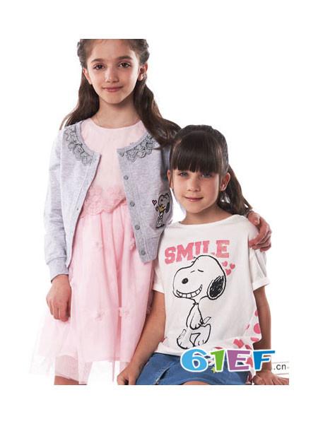 Fun House童装品牌时尚休闲宽松卡通印花短袖女T恤