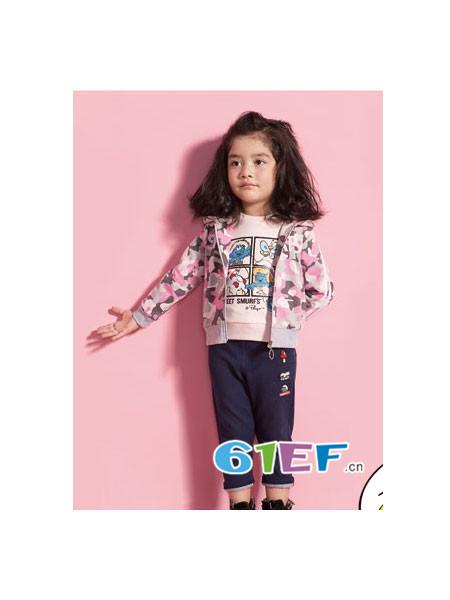 蓝精灵The Smurfs童装品牌2018春迷彩外套