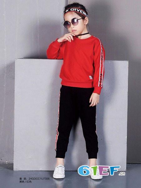 007童品童装品牌2018春夏红色时尚T恤