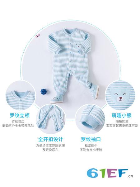 贝贝怡童装品牌2018春夏条纹连体衣