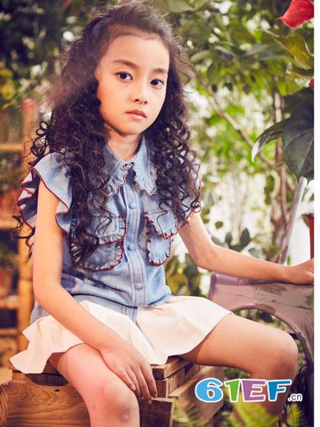 小资范童装品牌2018春夏牛仔时尚女童上衣