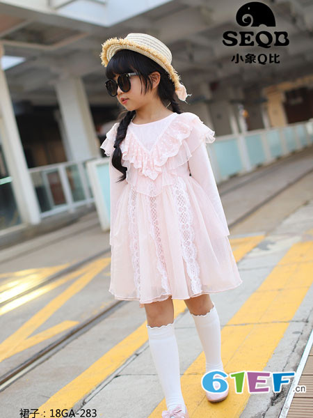 小象Q比童装品牌2018春夏网纱高腰公主裙