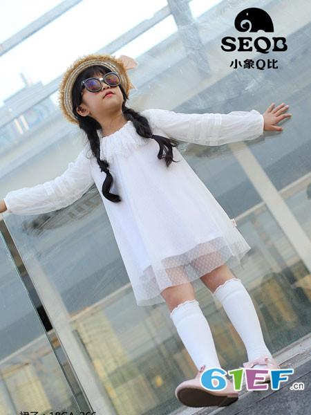 小象Q比童装品牌2018春夏宽松白色网纱裙