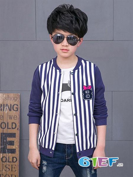 普朵米琪童装品牌2018春夏条纹休闲时尚上衣