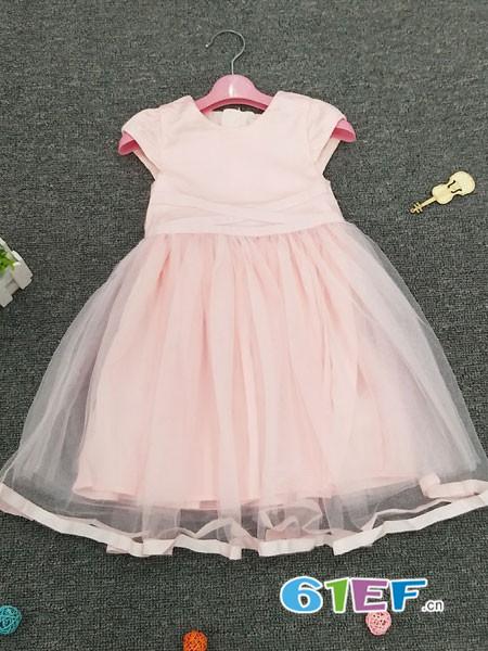 皮咖丘童装品牌2018春夏无袖条纹网纱连衣裙