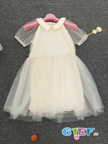 皮咖丘童装品牌2018春夏网纱时尚连衣裙