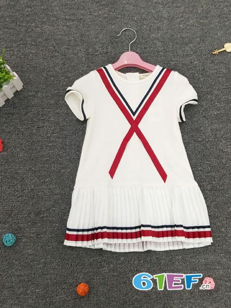 皮咖丘童装品牌2018春夏学生短袖时尚百褶裙