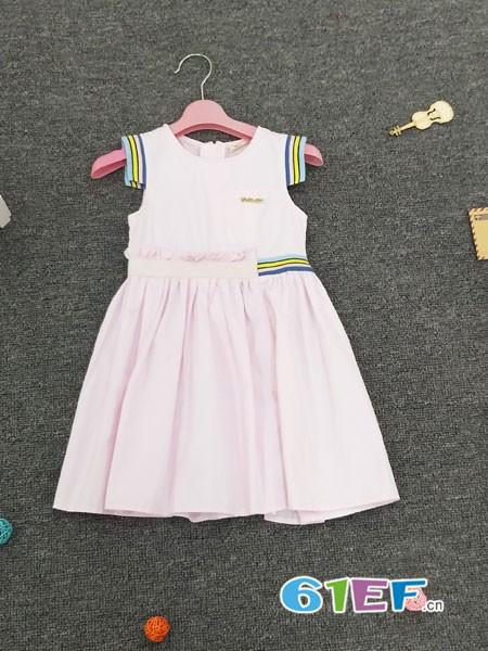 皮咖丘童装品牌2018春夏无袖彩虹修边时尚修身裙