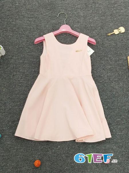 皮咖丘童装品牌2018春夏无袖粉色宽松连衣短裙