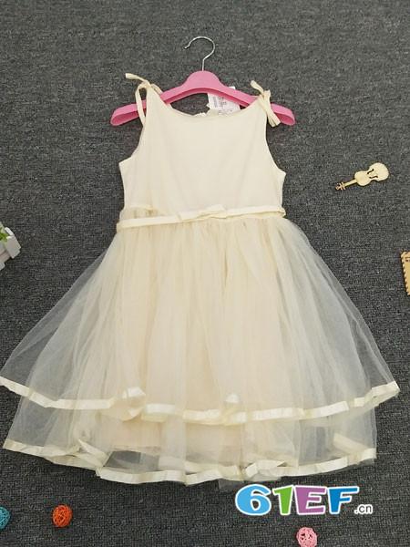 皮咖丘童装品牌2018春夏无袖吊带网纱高腰裙