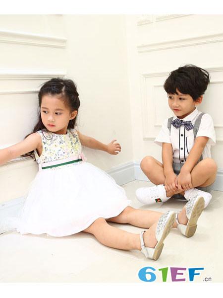 佐米熊童装品牌2018春夏无袖印花休闲网纱连衣裙