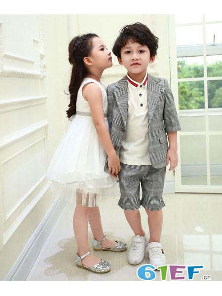 佐米熊童装品牌2018春夏条纹男童帅气小西装