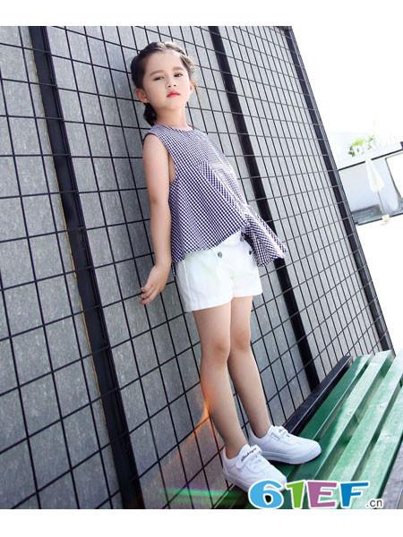 佐米熊童装品牌2018春夏千鸟格无袖时尚不规则上衣