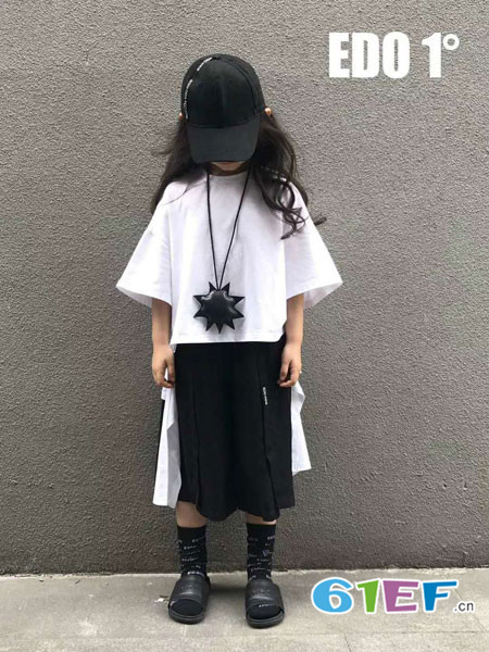 edo KIDS童装品牌2018春夏纯色中袖女童不规则上衣t桖