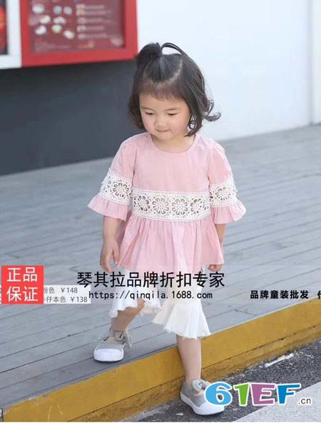 琴其拉童装品牌2018春夏时尚休闲粉色上衣