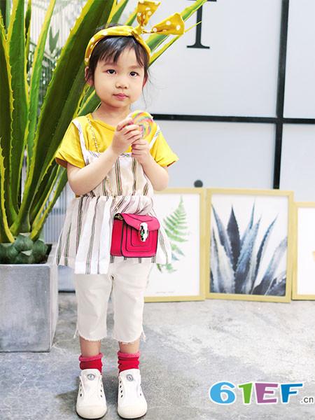 木言汀童装品牌2018春夏条纹收腰假两件上衣