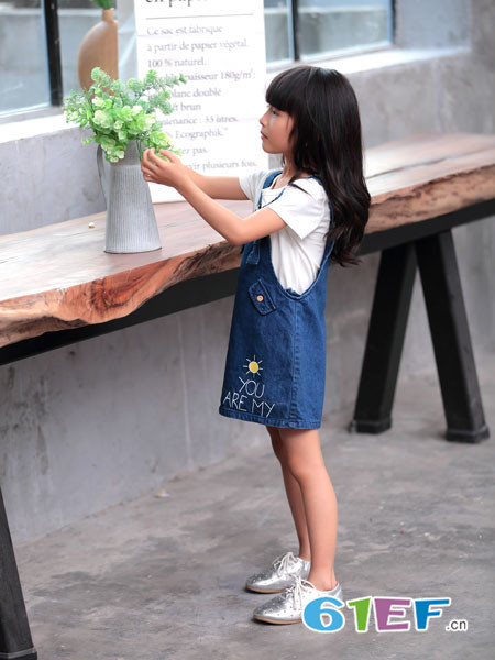 童品壹仓童装2018夏季牛仔时尚女童背带裙