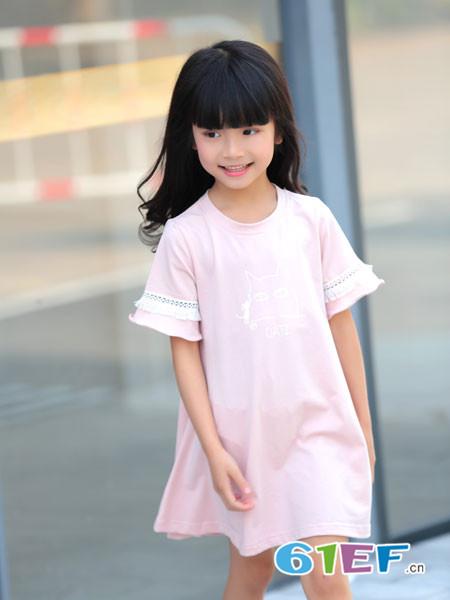 童品壹仓童装2018夏季粉色短袖花边宽松连衣裙