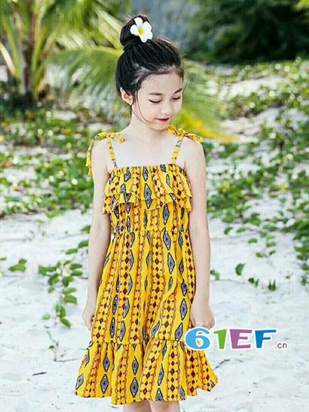 比奇童话龙8国际娱乐官网品牌2018春夏时尚优雅吊带连衣裙