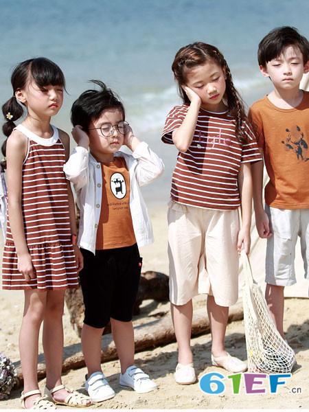 德蒙斯特童装品牌2018夏季条纹无袖宽松休闲连衣裙
