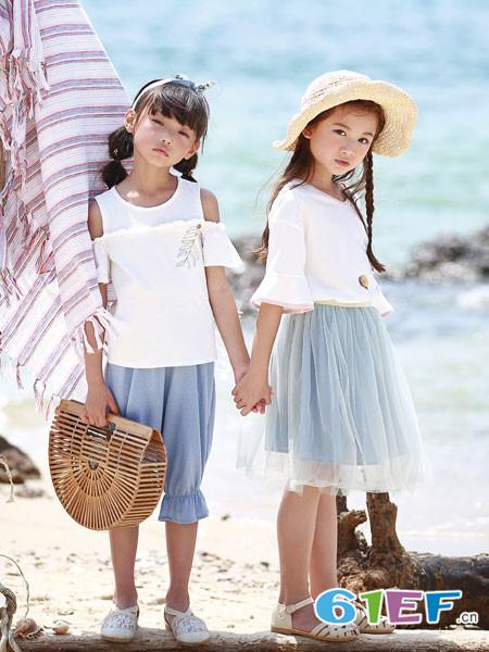 德蒙斯特童装品牌2018夏季简约白色露肩休闲上衣