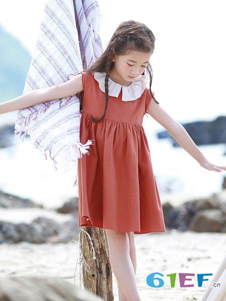 德蒙斯特童装品牌2018夏季休闲宽松女童花边领连衣裙