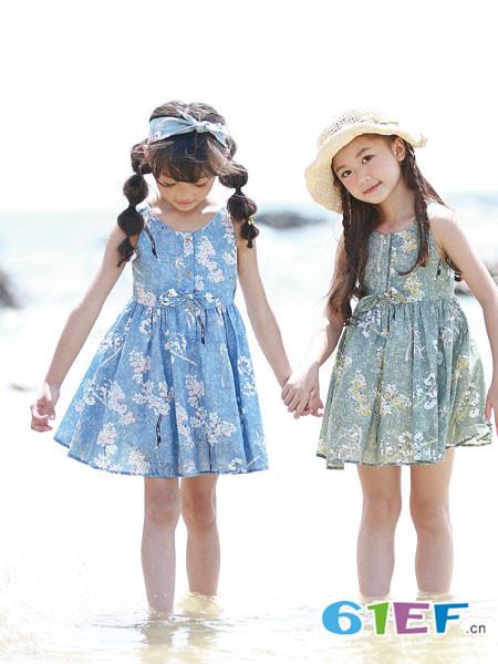 德蒙斯特童装品牌2018夏季印花无袖时尚女童连衣裙