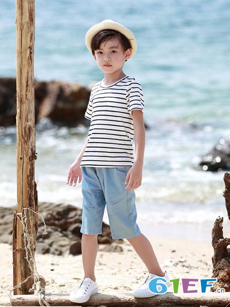 德蒙斯特童装品牌2018夏季条纹宽松时尚短袖体恤
