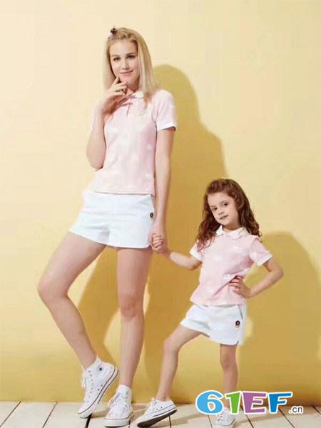 上流贵族童装品牌2018春夏粉色休闲时尚亲子装